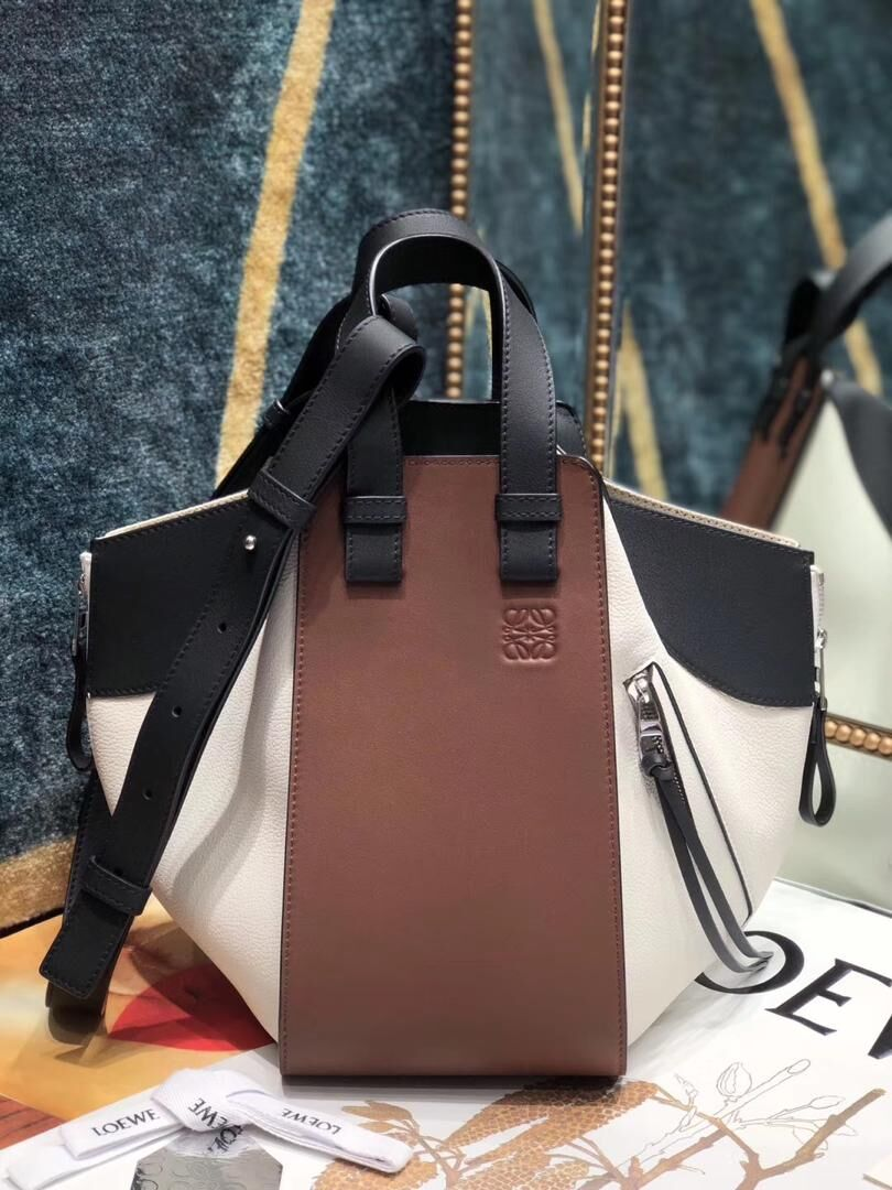 Loewe Hammock Small Bag Original Leather A6887 Brown&White&Black