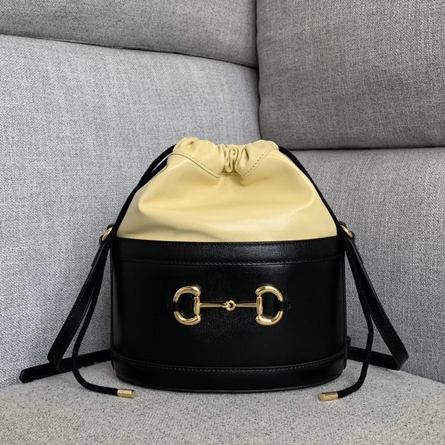 Gucci 1955 Horsebit bucket bag 602118 black&cream