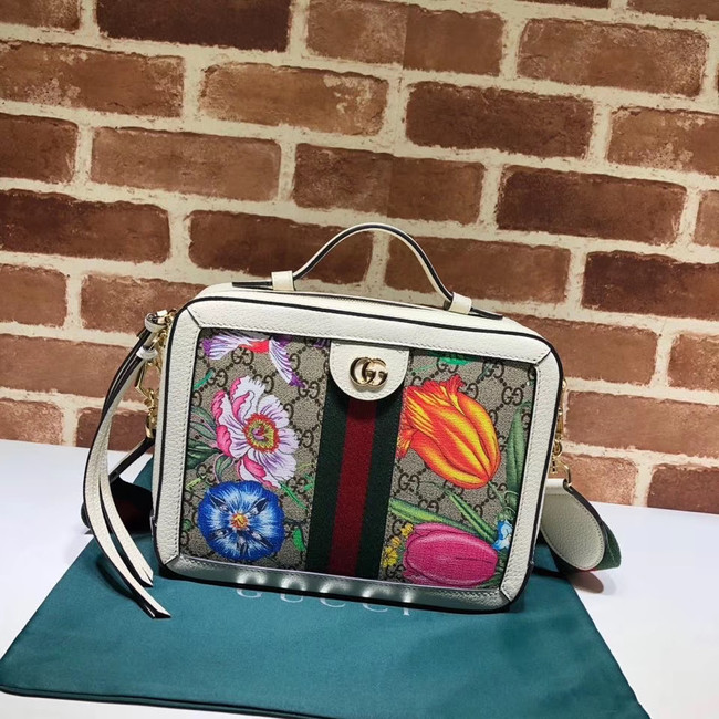 Gucci Ophidia GG Flora small shoulder bag 550622 white