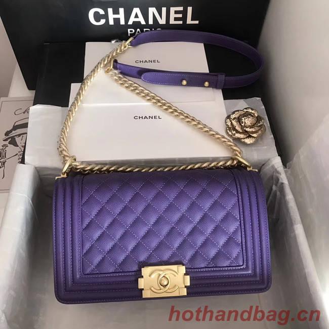 Boy chanel handbag A67086 purple