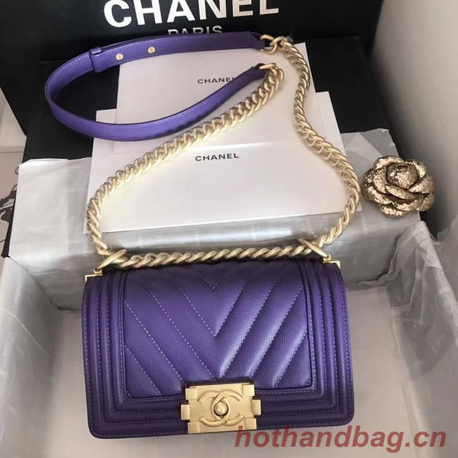 Small boy chanel handbag V67085 purple