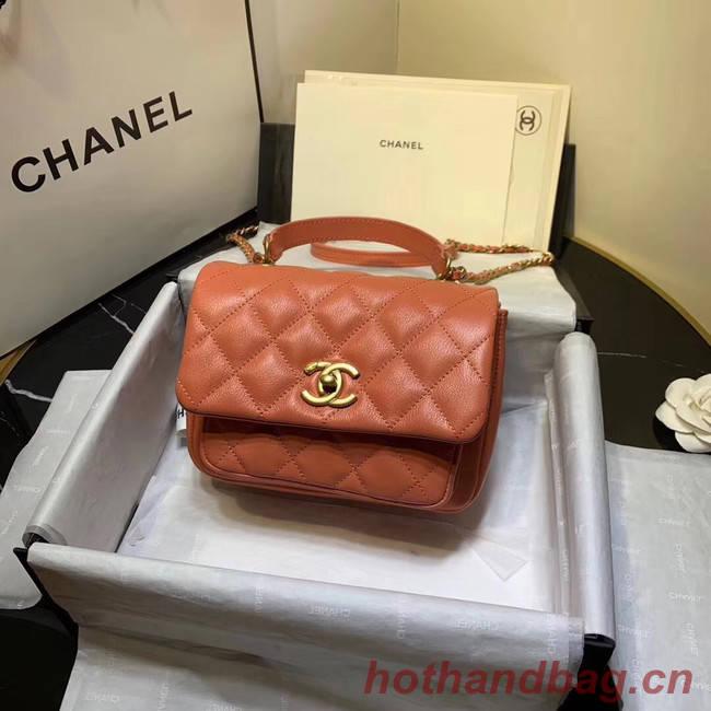 Chanel flap bag Grained Calfskin & Gold-Tone Metal AS1155 orange