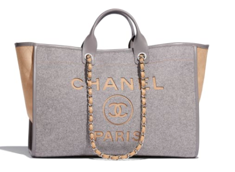 Chanel Original Tote Shopping Bag Wool calfskin & Silver-Tone Metal A93786 Grey&beige