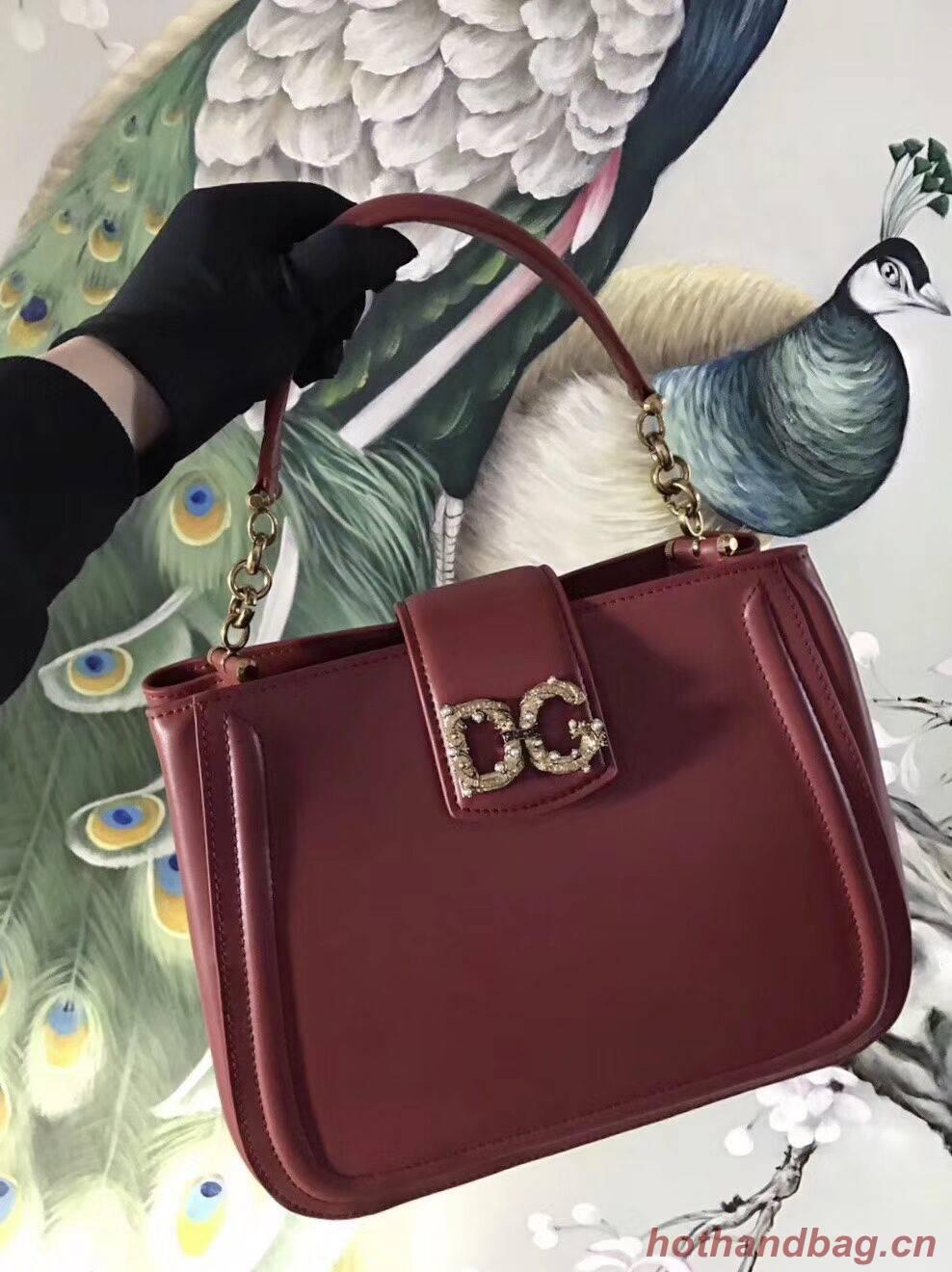Dolce & Gabbana Origianl Leather Bag 4918 Burgundy