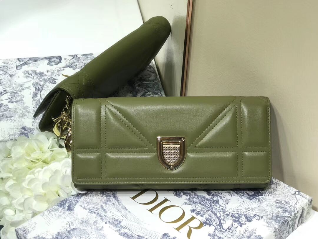 DIOR CLUTCH gold-tone metal C1040A green