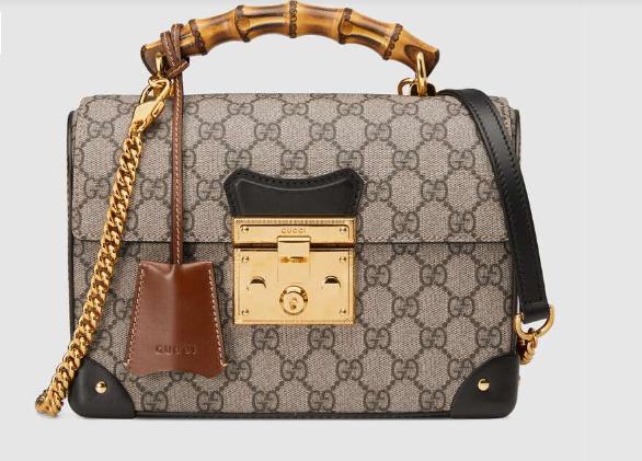 Gucci Padlock GG small bamboo shoulder Backpack 603221 black&brown