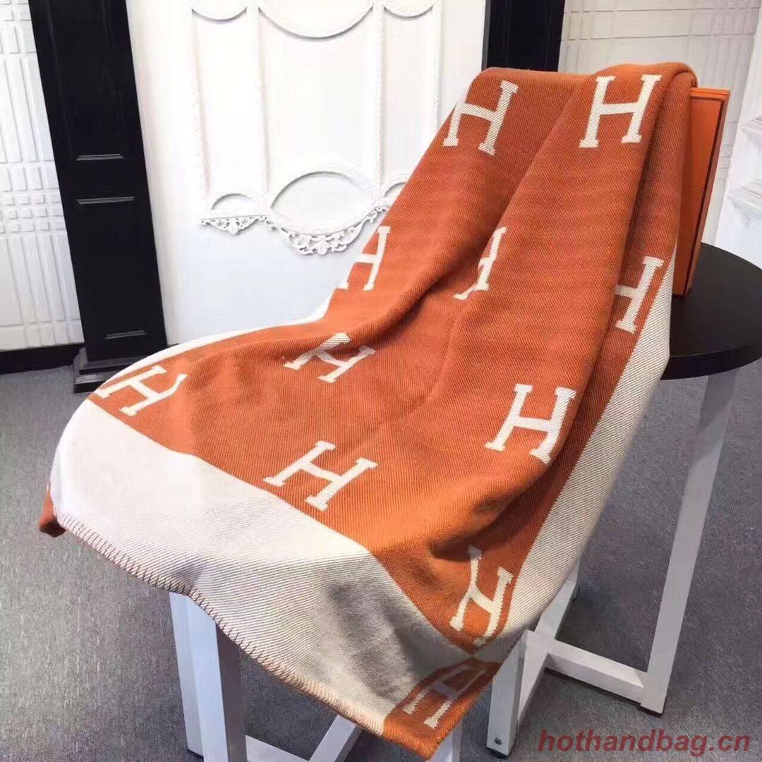 Hermes Lambswool & Cashmere Shawl & Blanket 71155 Orange