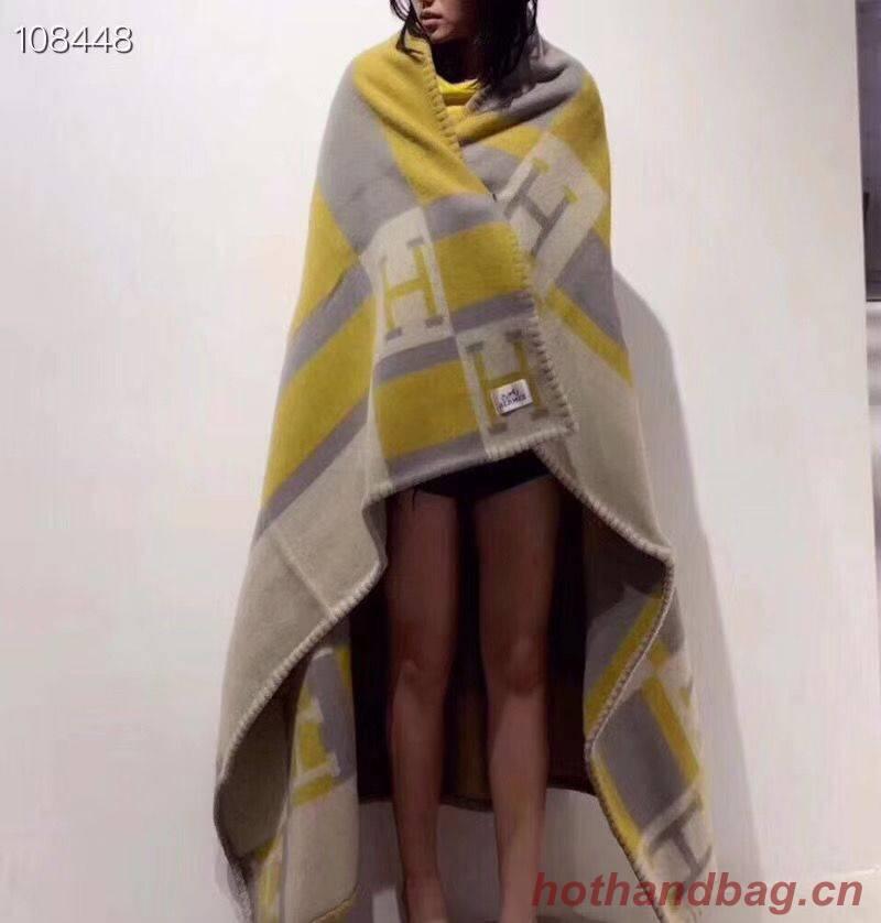 Hermes Lambswool & Cashmere Shawl & Blanket 71152 Yellow