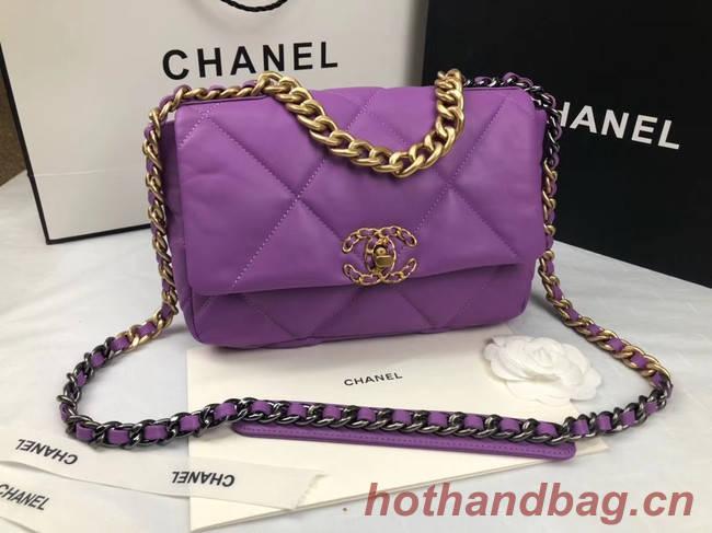 CHANEL 19 Flap Bag AS1160 purple