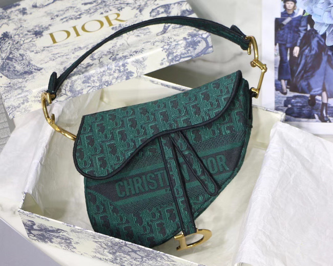Dior SADDLE DENIM CANVAS BAG M928 green