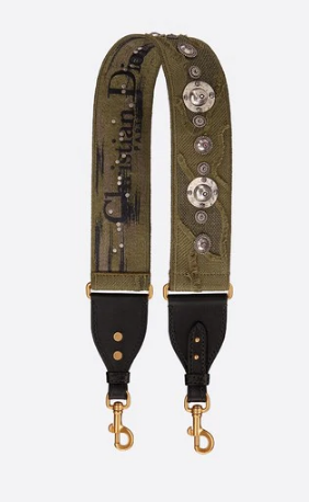 DIOR GREEN MULTICOLOR CAMOUFLAGE FULLY EMBROIDERED STRAP M042
