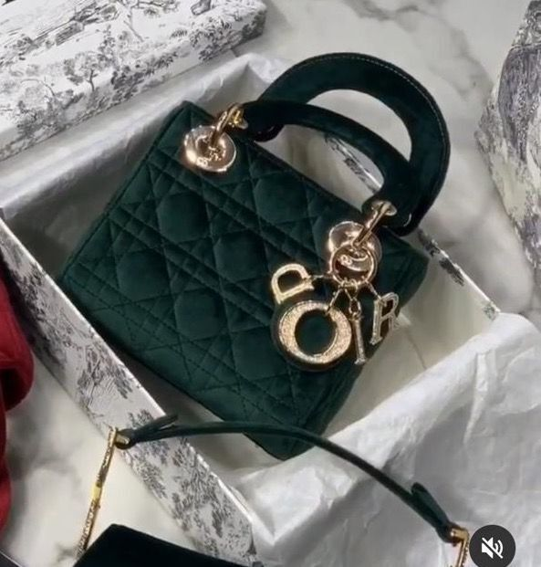 MINI LADY DIOR Velvet BAG M424 Dark Green