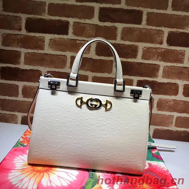 Gucci Zumi Ostrich leather medium top handle bag 564714 white