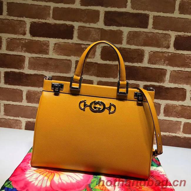 Gucci Zumi grainy leather medium top handle bag 564714 yellow