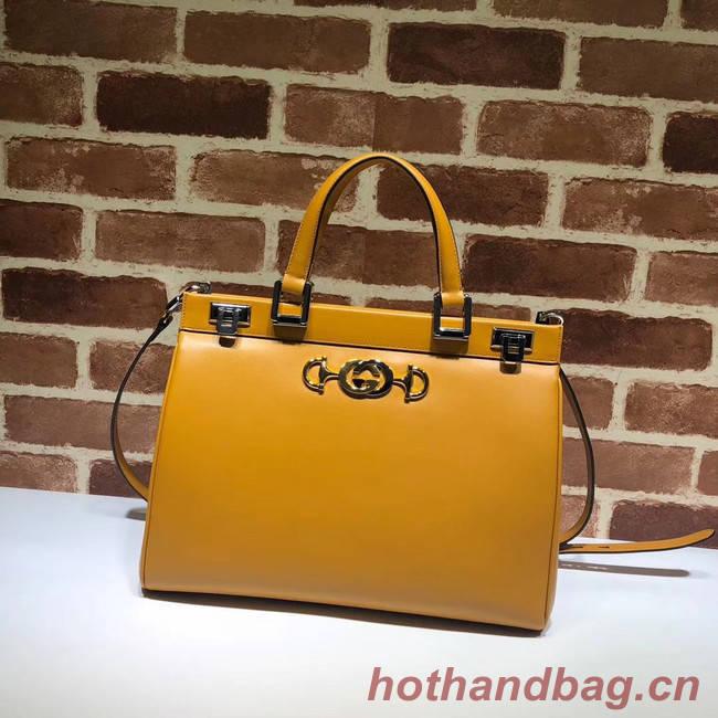 Gucci Zumi leather medium top handle bag 564714 yellow