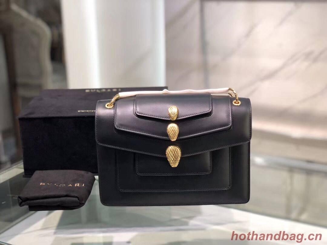 BVLGARI Serpenti Forever leather shoulder bag B288620 black