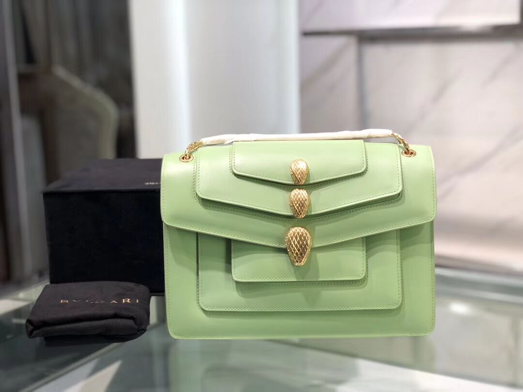 BVLGARI Serpenti Forever leather shoulder bag B288620 green