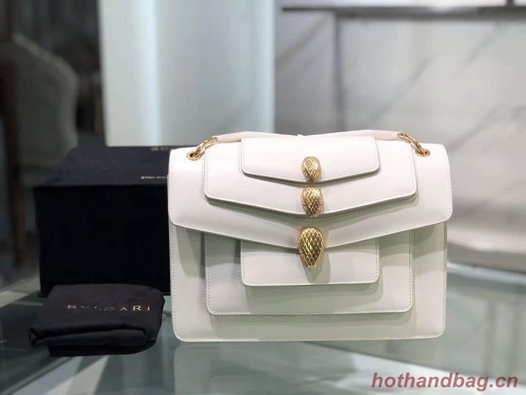 BVLGARI Serpenti Forever leather shoulder bag B288620 white