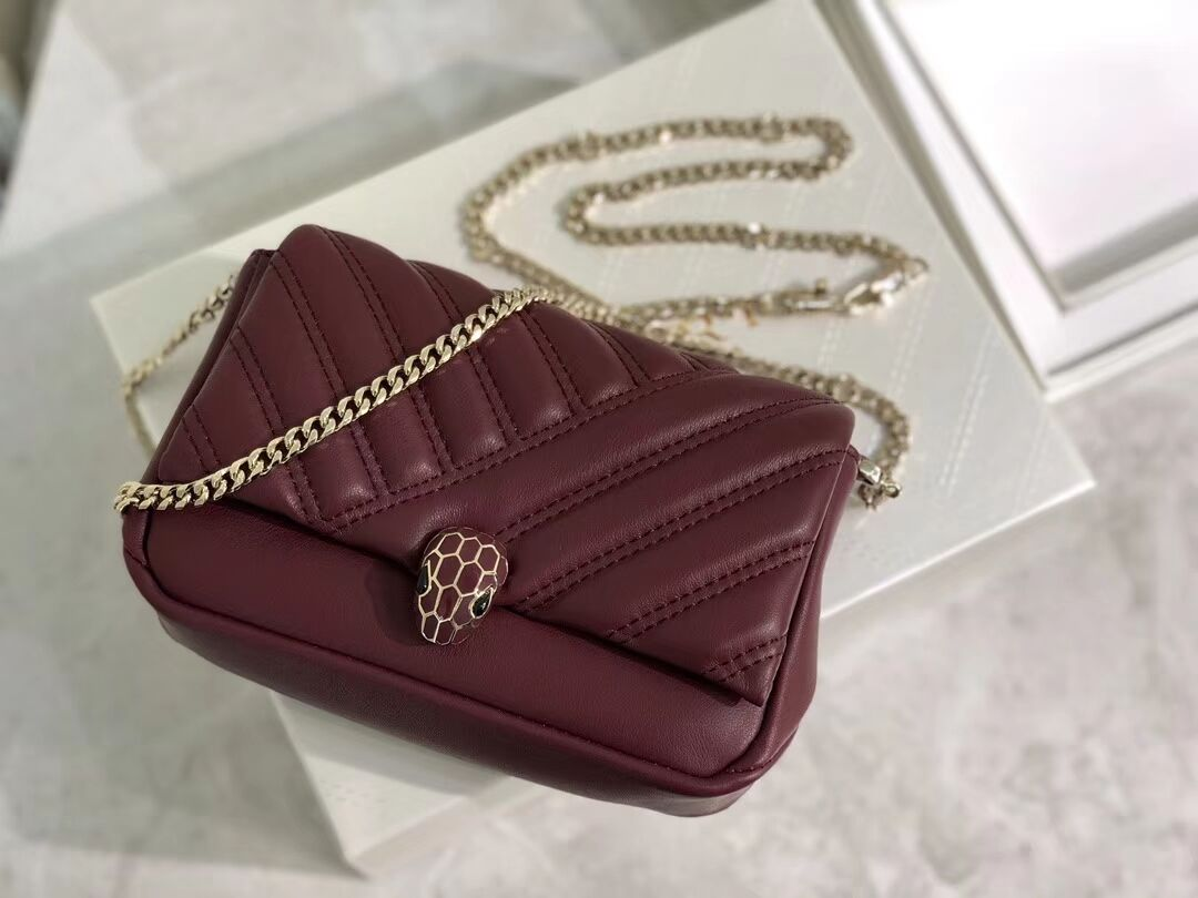 BVLGARI Shoulder Bag Calfskin Leather B288760 Burgundy