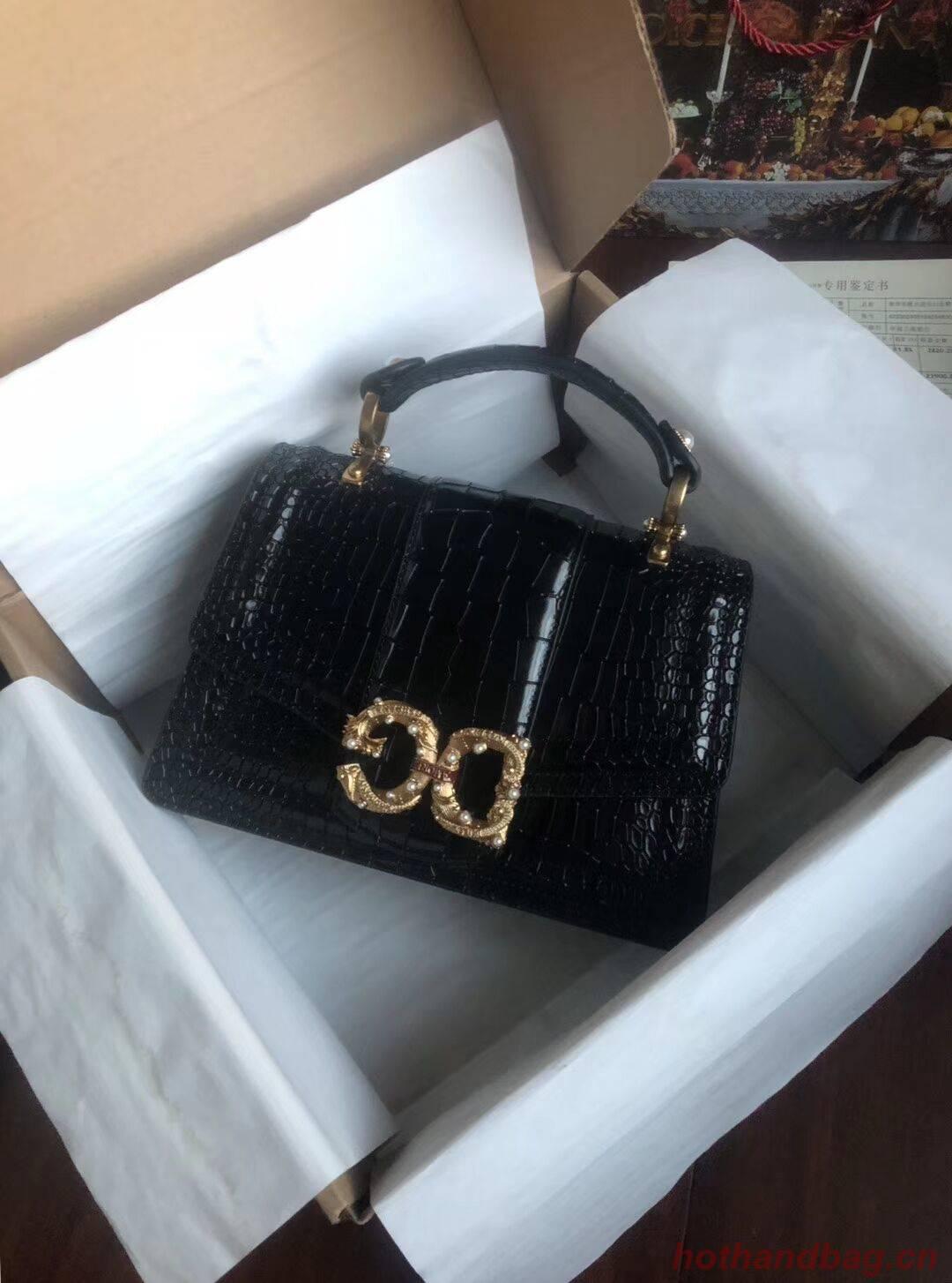 Dolce & Gabbana Origianl Crocodile Leather Bag 4916E Black
