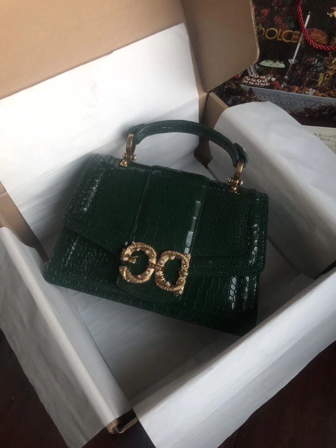 Dolce & Gabbana Origianl Crocodile Leather Bag 4916E Blackish green