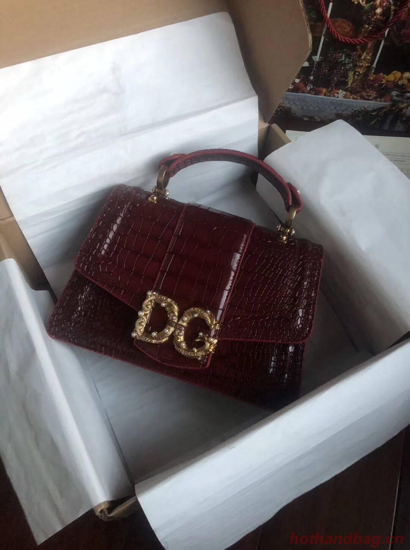 Dolce & Gabbana Origianl Crocodile Leather Bag 4916E Burgundy