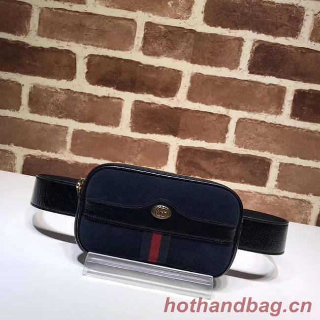 Gucci Nubuck leather belt bag 519308 Royal Blue&black