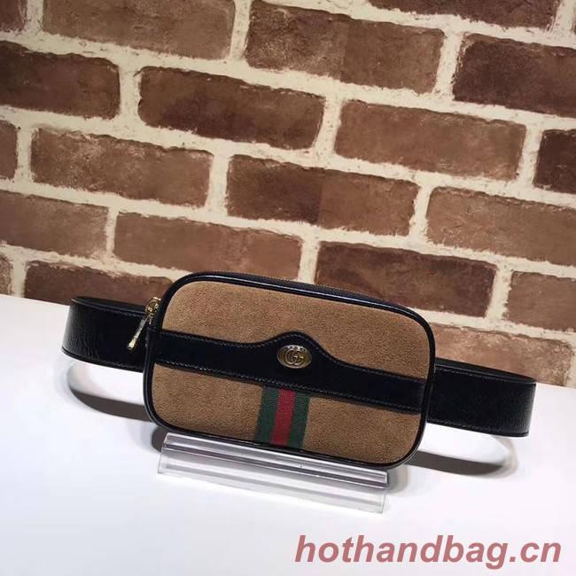 Gucci Nubuck leather belt bag 519308 brown&black