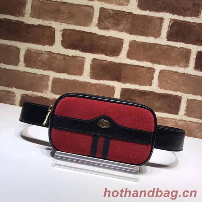 Gucci Nubuck leather belt bag 519308 red&black