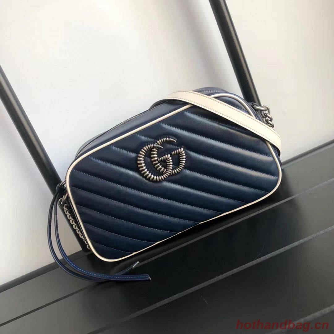 Gucci GG Marmont Matelasse Shoulder Bag A447632 Navy
