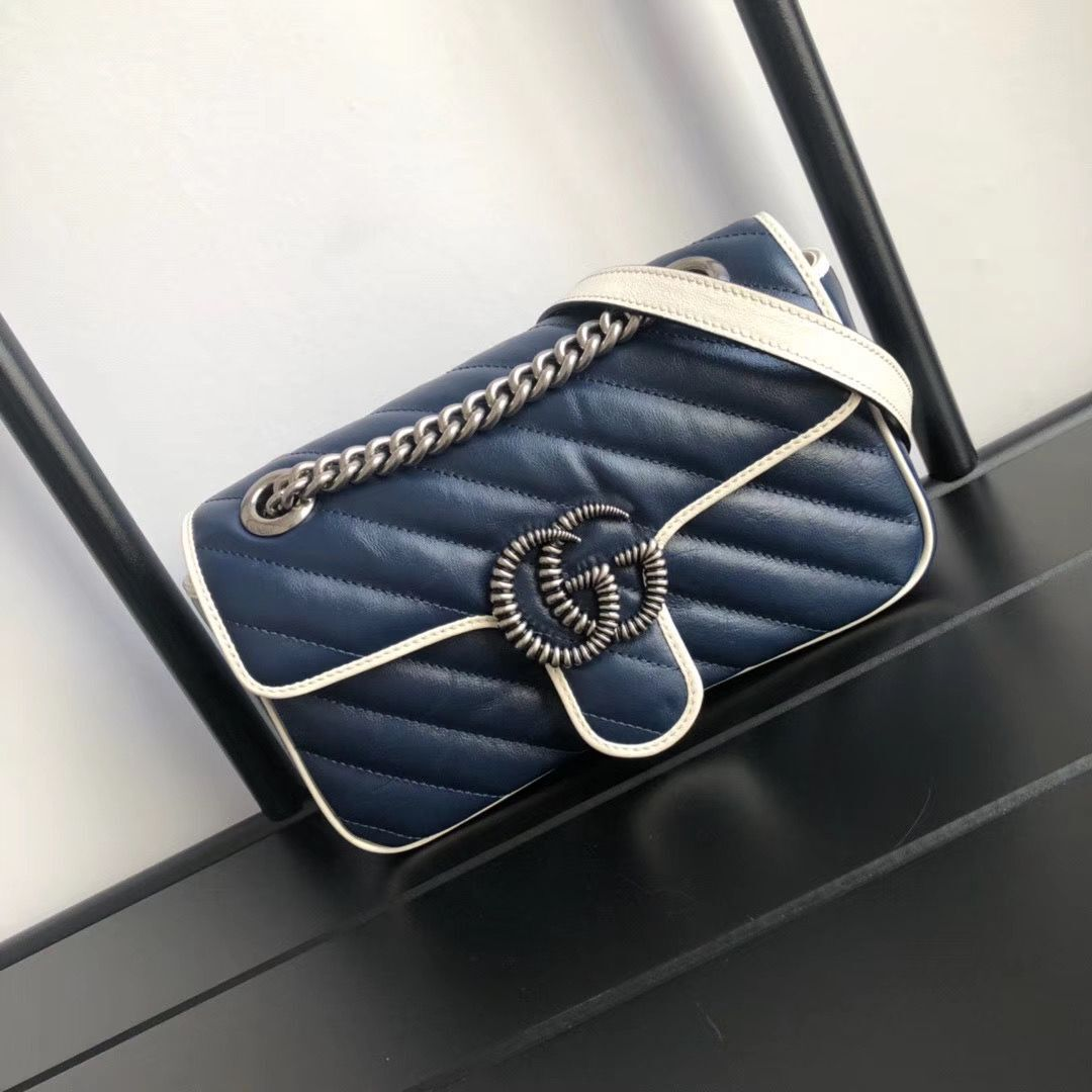 Gucci GG Marmont small shoulder bag 446744 Navy