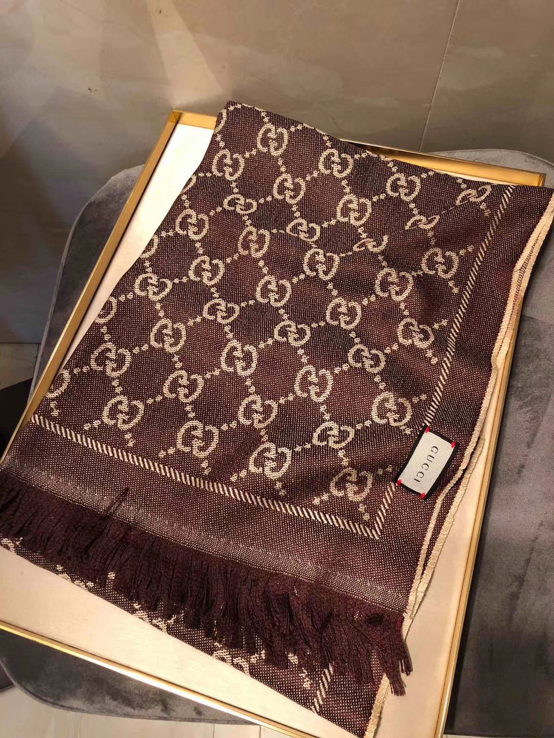 Gucci OBLIQUE STOLE IN WOOL AND CASHMERE GG55620 brown
