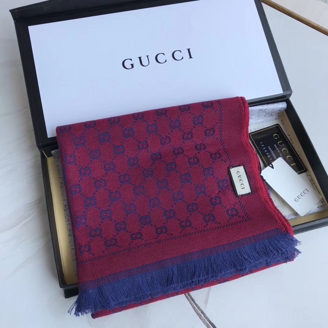 Gucci OBLIQUE STOLE IN WOOL AND CASHMERE GG55620 rose&blue