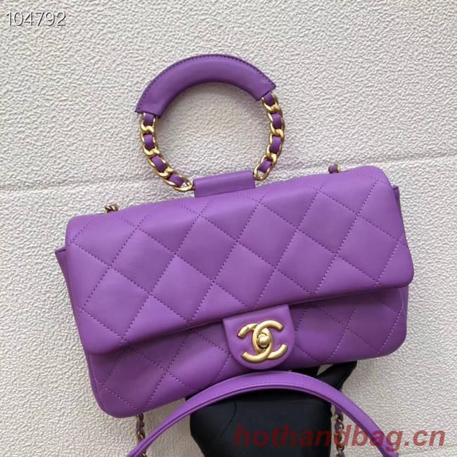Chanel flap bag Lambskin & Gold Metal AS1358 purple