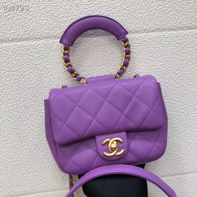 Chanel small flap bag Lambskin & Gold Metal AS1357 purple