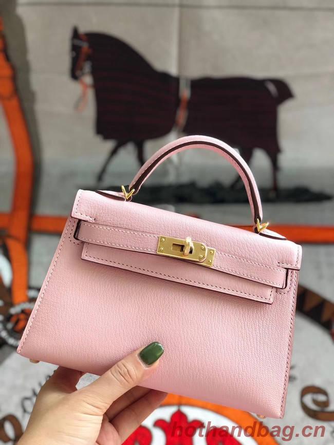 Hermes original mini Kelly chevre mysore K19CM pink&Gold Metal