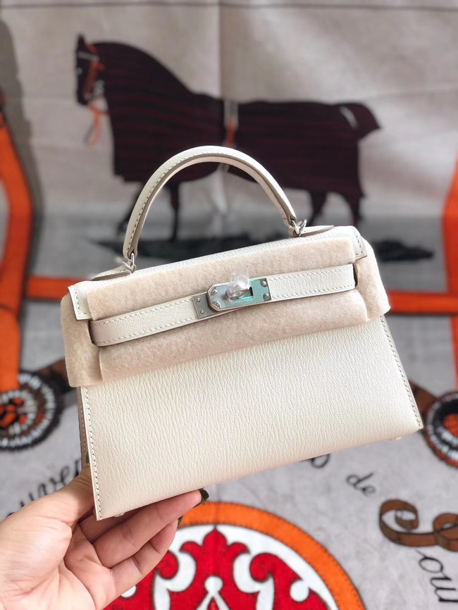 Hermes original mini Kelly chevre mysore K19CM white&silver Metal
