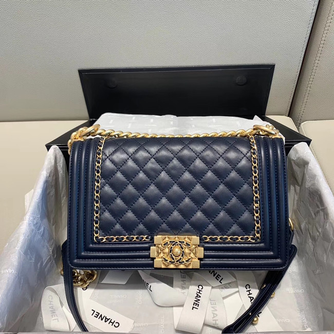 BOY CHANEL flap bag A67086 Navy Blue