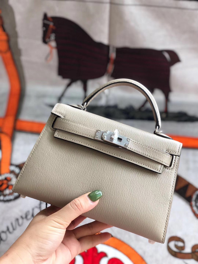 Hermes original mini Kelly chevre mysore K19CM light grey&silver Metal