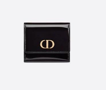 Dior MEDIUM BLACK 30 MONTAIGNE LOTUS PATENT CALFSKIN WALLET S2057