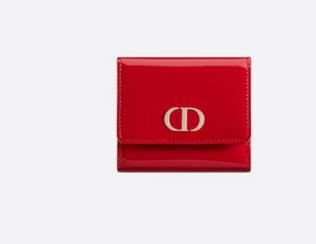 Dior MEDIUM RED 30 MONTAIGNE LOTUS PATENT CALFSKIN WALLET S2057