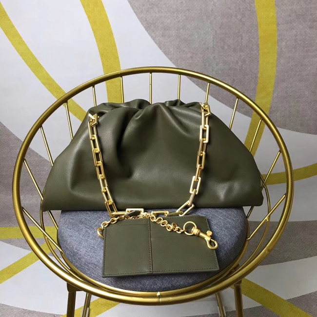 Bottega Veneta Nappa lambskin soft wide large Shoulder Bag 585853 Blackish green