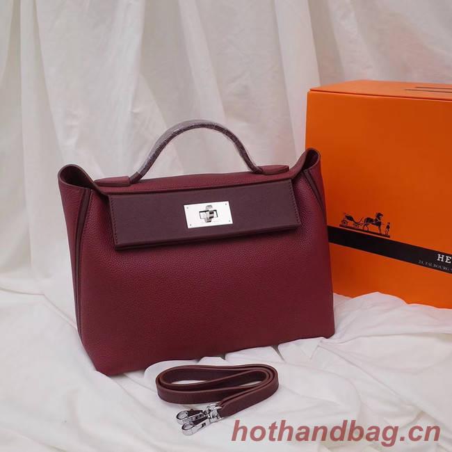 Hermes Kelly togo Leather Tote Bag H2424 Burgundy