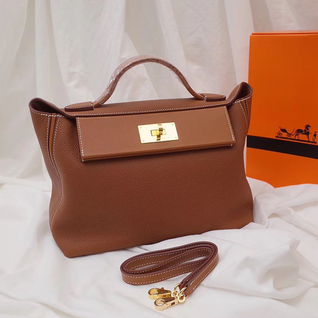 Hermes Kelly togo Leather Tote Bag H2424 brown
