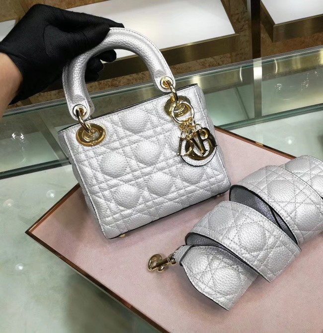 Dior MINI LADY DIOR CALFSKIN BAG M0573 Silvery white