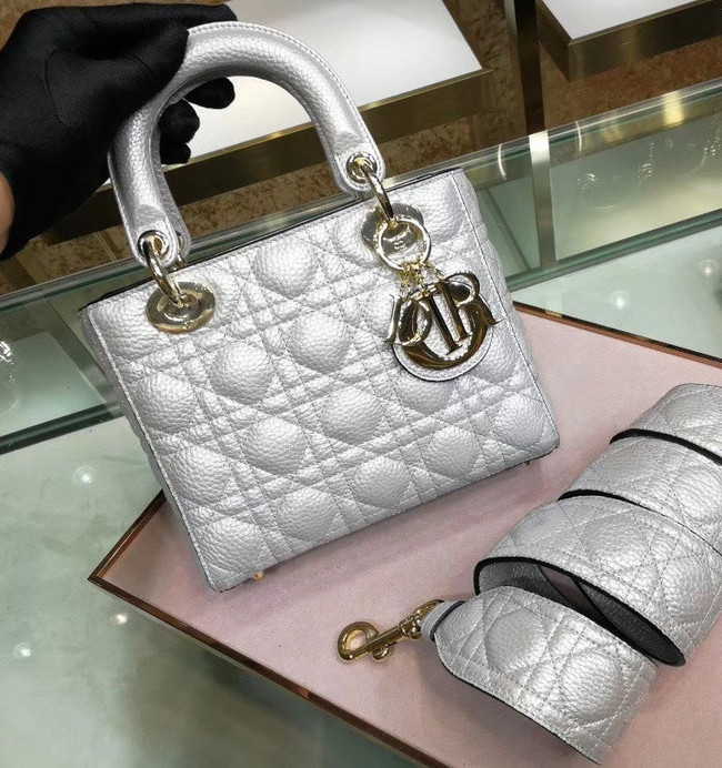 Dior MINI LADY DIOR CALFSKIN BAG M0574 Silvery white