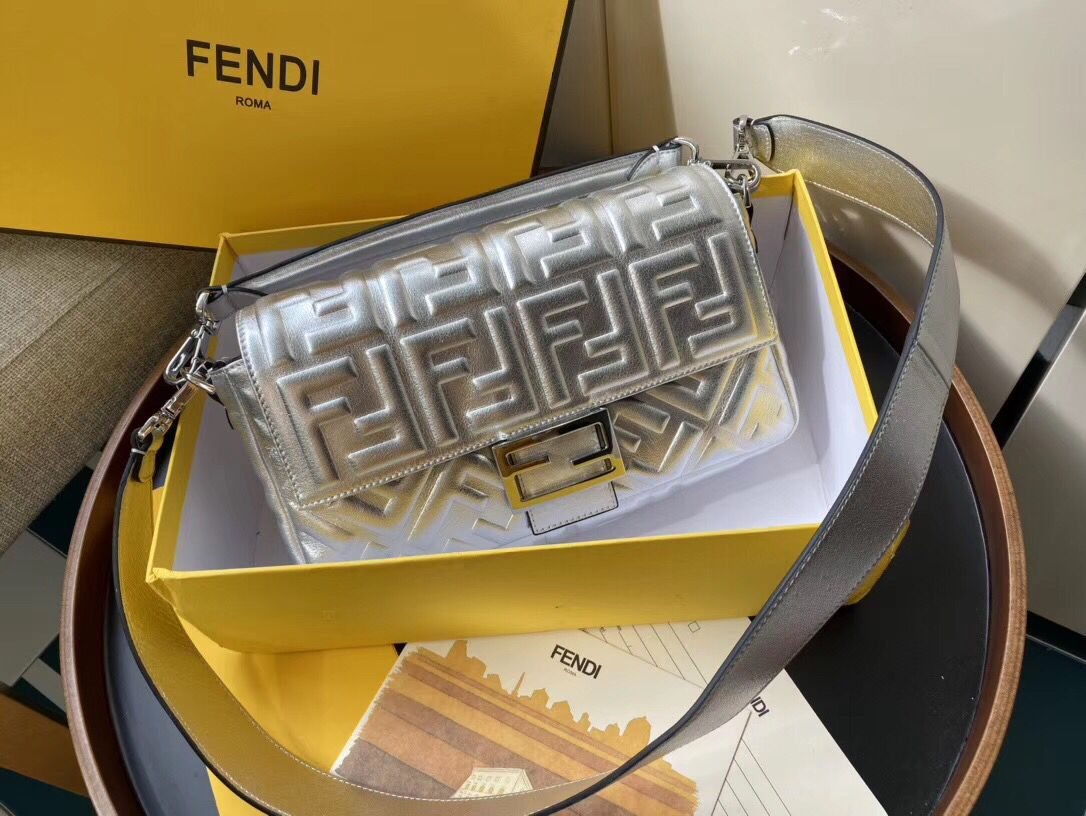 FENDI BAGUETTE large Shoulder Bag 8BR771A Silver