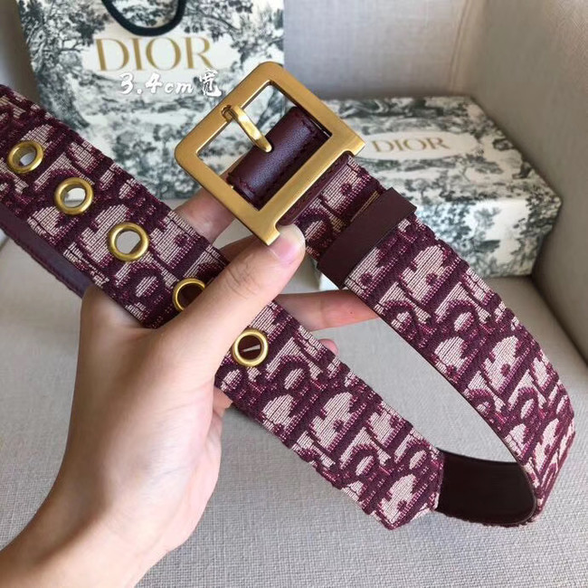 Dior Wide leather belt with 34 mm D4262 Burgundy