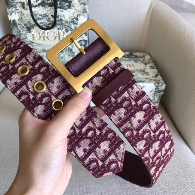 Dior Wide leather belt with 50 mm D4261 Burgundy