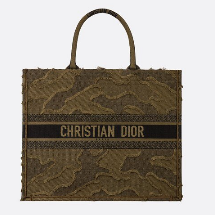 DIOR BOOK TOTE BAG IN EMBROIDERED CANVAS C1286 green